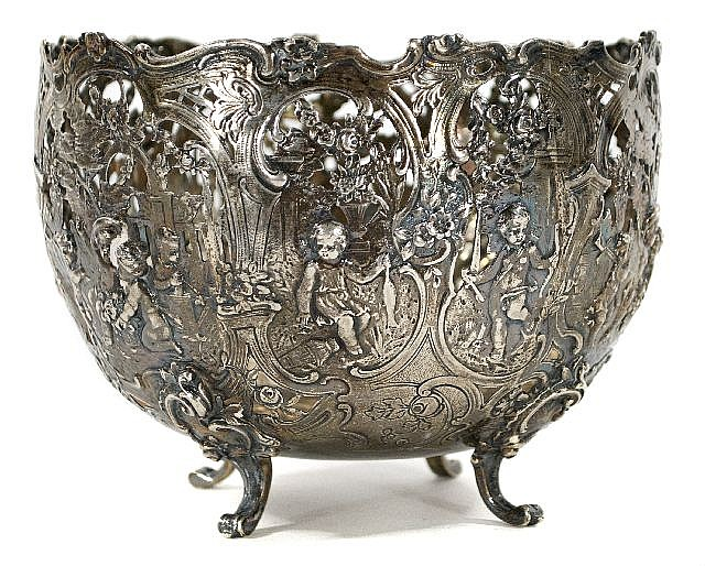 A German Sterling Silver Pierced Repousse Footed Center Bowl, 20th Century.