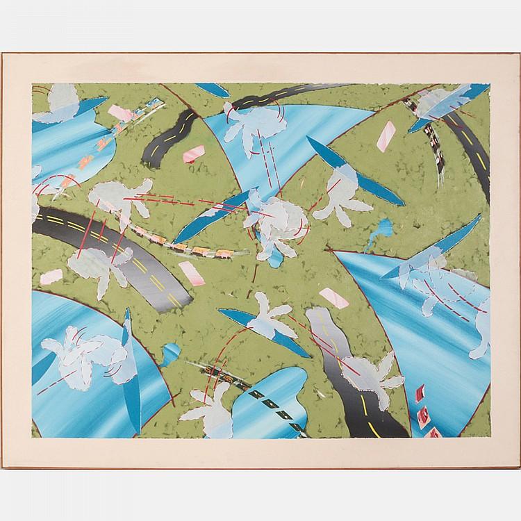 Ken Nevadomi (b. 1939) Indians Visit the Landscape II, Oil on canvas,