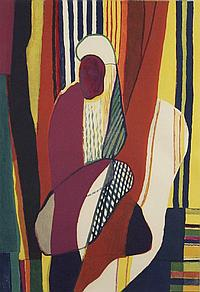 Louis Favre (1891-1956) African Woman, Color lithograph on paper,