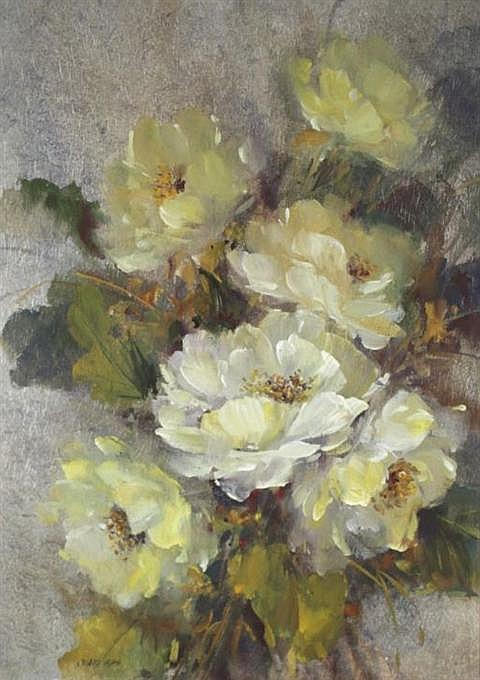 Alan Robert Chiara (American, 20th Century) Floral with White Flowers, Mixed media on paper,