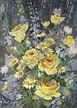 Robert Laessig (American, b.1913) Floral with Yellow Roses, Mixed media on paper,, Robert H Laessig, Click for value