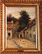 Burr H. Nicholls (1848-1915) Barnyard Scene, Oil on canvas,