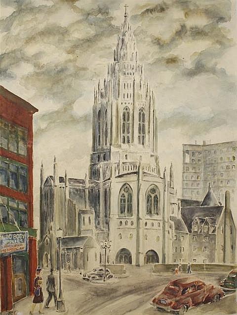 Raymond Calcey (20th Century, American) Church in Pittsburgh Street Scene, Watercolor on Board