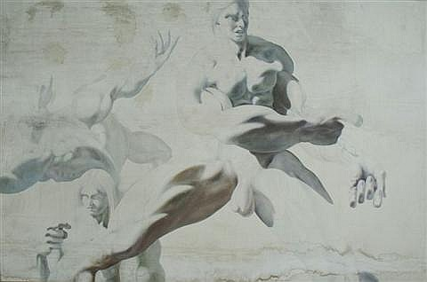 Thomas E. Gordon (20th Century) Activity of the Hyper-Muscular Male #6, Oil on Canvas,