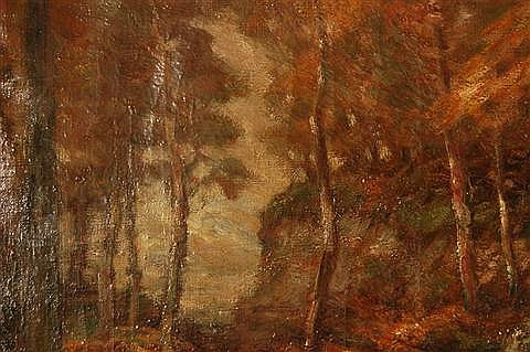 John Semon American, 1852-1917 Forest Scene oil on linen.