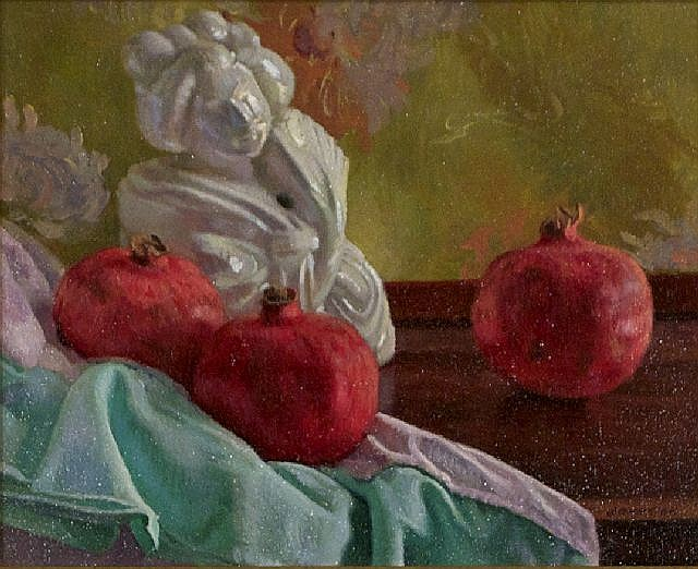 Ron Johnston (20th Century) Incense Burner and Three Pomegranates, Oil on canvas,