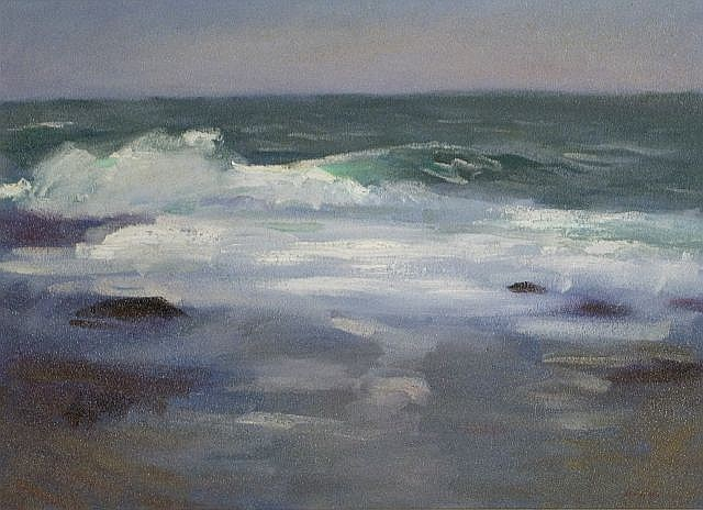 Ron Johnston (20th Century) Breaking Waves, Grey Day, Oil on canvas,