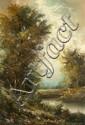 H. Nilsen (20th Century) River Scene, Oil on canvas,