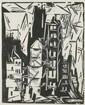 Lyonel Feininger (1871-1956) Houses in Old Paris, Woodcut,