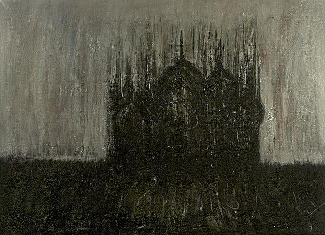 George Vihos (b. 1937) Cathedral, Oil on canvas,
