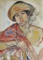 Enoch-Henryk Glicenstein (1870-1942) Portrait of a Woman, Watercolor,