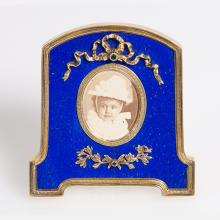 A Russian Style Gilt Silver, Faux Lapis Lazuli and Emerald Frame, 20th Century,