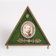 A Russian Style Gilt Silver, Nephrite and Seed Pearl Frame, 20th Century,