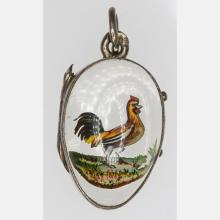 A Fabergé Style Carved Crystal Intaglio Miniature Egg Form Pendant, 20th Century,