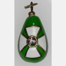 A Fabergé Style Green and White Enameled Miniature Egg Form Pendant, 20th Century,