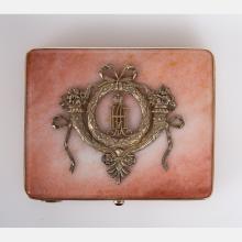 A Russian Style Gold, Gilt Silver and Aventurine Quartz Cigarette Case, 20th Century,