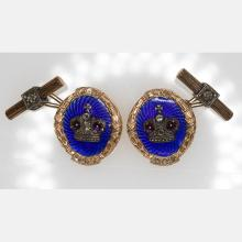 A Pair of Russian Style 14kt. Yellow and Rose Gold, Garnet, Diamond and Blue Enameled Cufflinks, date 1912,