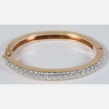 A 14kt. Yellow Gold and Diamond Melee Bracelet,