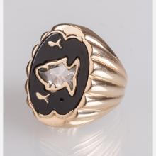 A 14kt. Yellow Gold and Diamond Ring,