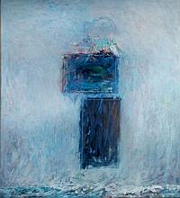 Al James Newbill (b. 1921) The River, First Snow, 1987, Oil on canvas,