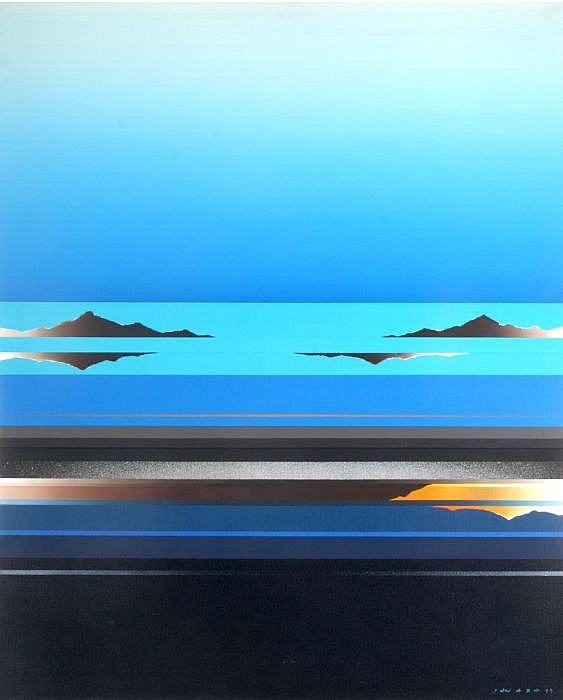 Tetsuro Sawada (1933-1998) Blue Skyscrape, Oil on canvas,