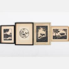 A Collection of Four Cut Paper Silhouettes Depicting Animals within Landscapes by Various Artists, 20th Century,