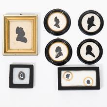 A Collection of Eight Cut Paper, Reverse Painted and Enameled Silhouettes Depicting George and Martha Washington, 19th/20th Century.