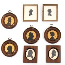 A Collection of Eight Cut Paper Silhouettes, 19th/20th Century,
