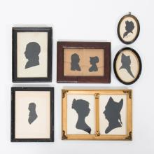 A Collection of Six Cut Paper and Satin Silhouettes, 19th Century,