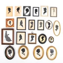 A Collection of Twenty-One Cut Paper and Reverse Painted Silhouettes Depicting Women by Various Artists, 20th Century,