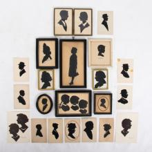 A Collection of Twenty-Two Cut Paper Silhouettes Depicting Figures in Eyeglasses, 20th Century.