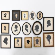 A Collection of Fifteen Cut Paper, Reverse Painted  and Printed Silhouettes by Various Artists, 19th/20th Century,