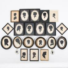 A Collection of Twenty-Two Cut Paper Silhouettes by Various Artists, 20th Century,