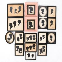 A Collection of Sixteen Cut Paper Silhouettes by Various Artists, 20th Century,