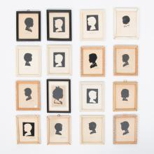 A Collection of Sixteen Cut Paper Silhouettes Depicting Children by L. Pierre Bottemer (1891-1981).