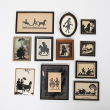 A Collection of Eleven Cut Paper, Ink and Reverse Painted Silhouettes by Various Artists, 19th/20th Century,