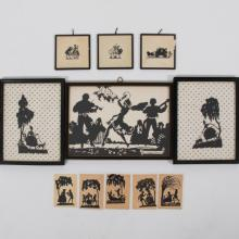 A Collection of Eleven Cut Paper and Printed Silhouettes Depicting Landscapes and Figures, 20th Century.