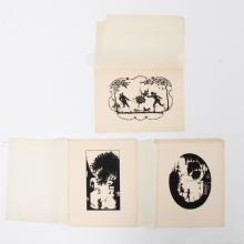A Collection of Three Cut Paper Silhouettes Depicting Figures in a Landscape, 20th Century.