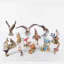 A Collection of Bisque Porcelain Bird and Animal Form Statuettes by Various Makers, 20th Century,