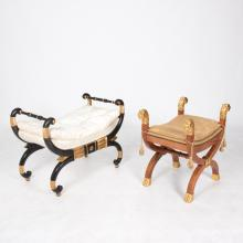 Two Baker Furniture Thomas Hope Style Painted and Partial Gilt Hardwood X-Form Stools, 20th Century,