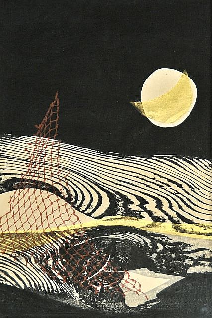 Reika Iwami (b.1927) Abstract, Woodcut,