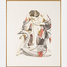 Philip Pearlstein (b. 1924) Woman with Wooden Swan, Lithograph,