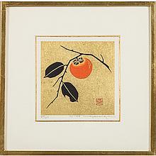 Haku Maki (1924-2000) Persimmon, (76-45), Woodcut in colors on a metallic gold background,