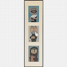 Azechi Umetaro (1902-1999) Three Works, Woodcuts,