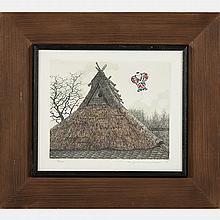 Tanaka Ryohei (b. 1933) Roof with Kite, Etching and aquatint,