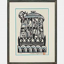 Sadao Watanabe (1913-1996) Noah's Ark, 1974, Woodcut in colors,