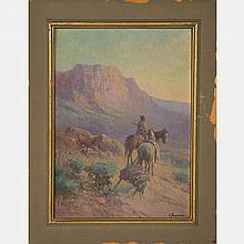 Victor Casenelli (1867-1961) Western Landscape with Warrior on Horseback, Oil on canvas,