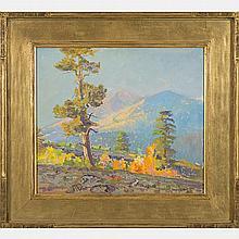 Ferdinand Burgdorff (1881-1975) Flagstaff Arizona, ca. 1925, Oil on board,