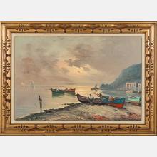 A. Pasini (20th Century) Beach Scene with Boats, Oil on canvas,