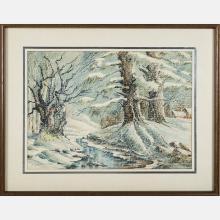 Franklin A. Bates (Cleveland, 20th Century) Winter Scene, Watercolor,